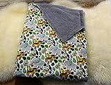 kuschelige Babydecke Kuscheldecke Wagendecke Baby-Decke Dschungel Tiere Elefanten Tiger handmade grau