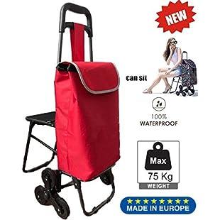 Tavalax Folding Shopping Trolley & 6 Wheels & Grocery Stair Climbing Cart & Waterproof & Seat design behind the cart:Porcelanatoliquido3d