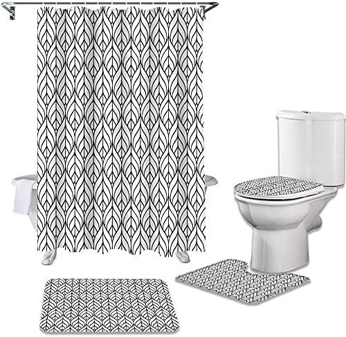 Azulejo de cerámica Patrón Hoja Cubierta de Inodoro Alfombrilla de baño Antideslizante Cortina de Ducha Impermeable Decoración de baño 180X180Cm X 71X71Inch