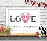 Love Stempelbild fr Baby Fuabdruck, Geschenk zur Geburt personalisierbar, Papier oder Leinwand