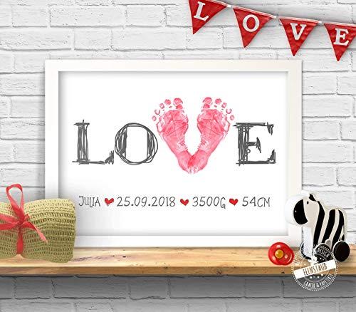 Love Stempelbild für Baby Fußabdruck, Geschenk zur Geburt personalisierbar, Papier oder Leinwand