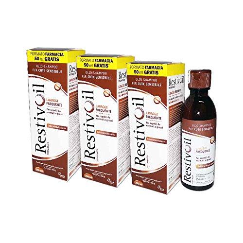 3 x RestivOil physiologique – Huile de shampooing 250 ml – Lavages fréquents