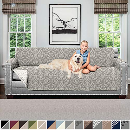 Sofa Shield Original Patent Pending Reversible X-Large Oversized Sofa Protector for Seat Width to 78 Inch, Furniture Slipcover, 2 Inch Strap, Couch Slip Cover Throw for Dogs, Sofa, Damask Latte Ivory