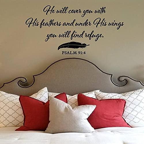 Vinilo decorativo para pared de la Biblia cristiana con la frase «He Will Cover You with His Feathers Ssalw 91:4» para decoración del hogar (83 x 42 cm)