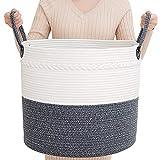 ZLG Blanket Holder Large Storage Cotton Rope Baskets w/Handles Baby White Brown Decorative Laundry Basket 17.7'X15.6' Organizer Bin