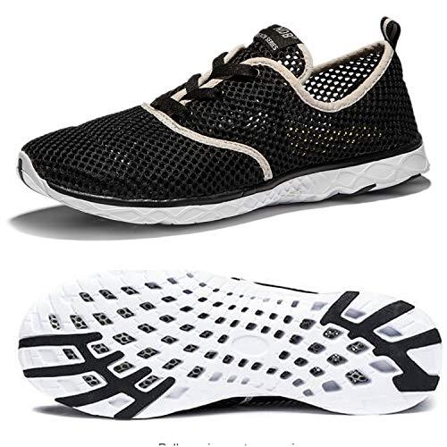 NewDenBer Męskie damskie buty z siateczki, szybkoschnące buty wodne, czarny - 01 czarny - 45 EU