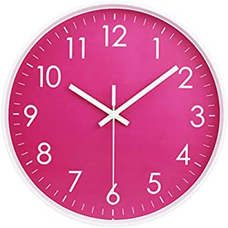 MOD CLOX Modern Wall Clock Non-Ticking Sweep Movement Battery Operated Clocks Decorative Living Room/Bedroom/Office/Kitchen 10 Inch Pink