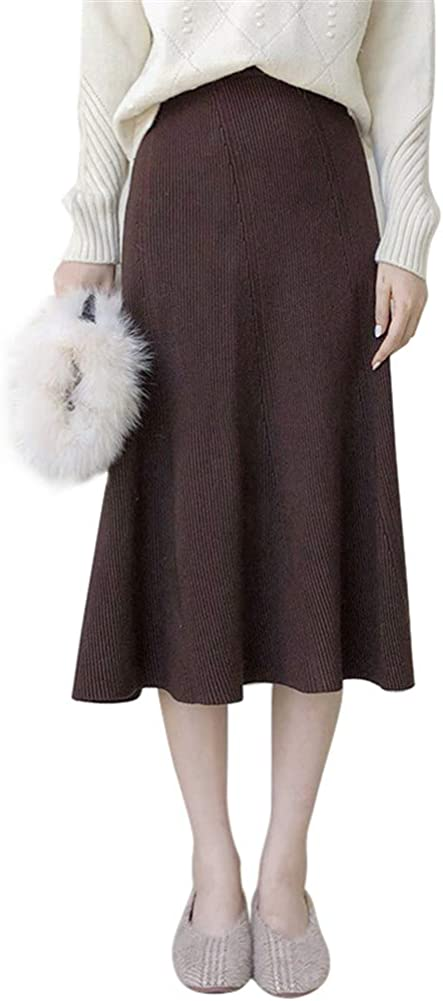 Drasawee Women's Solid Color Knitted Skirt Casual Autumn Skirts 2#