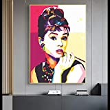 ULOVEH Nordic Fashion Audrey Hepburn Portrait Canvas Painting Wall Art Posters Prints Movie Star Art Picture for Living Room Decor 60X90cm 24x36inch No Frame