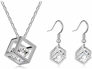 korpikus® Kristall KubikZircon Juwel-Silber-Metallhalsketten, Anhänger, Ohrringe Mit FREE passende Ohrringe & Organza-Gesc...