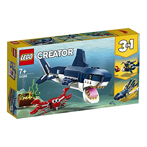 LEGOCreatorCreaturedegliAbissi:Squalo,GranchioeCalamarooRanaPescatrice,SetdaCostruzione3in1perAvventureMarine,GiocattoliperBambinidai7Anniinsu,31088