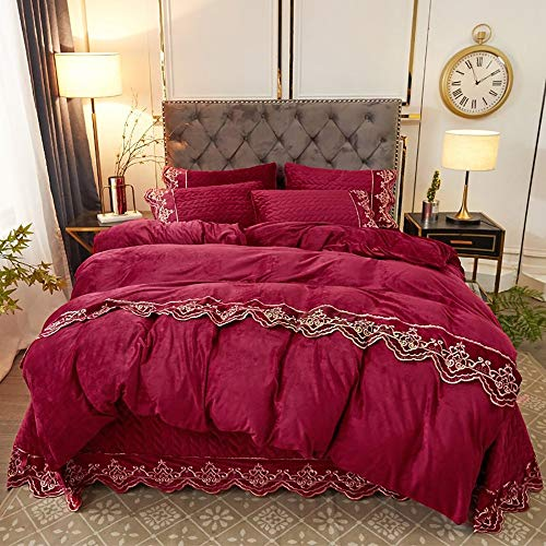 GGFHH Crystal velvet fabric 4pcs Duvet Cover Sets, Duvet Cover with Lace Pattern Printed Comforter Cover with Zipper Closure and Corner Ties(200x230cm)