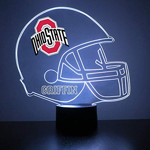 Mirror Magic Store Ohio State Buckeyes Football Helmet Sports Fan Lamp/Night Light - LED - Personalize for Free - Featuring Licensed Decal