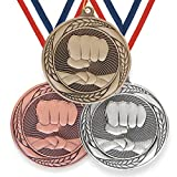 Trophy Monster Typhoon Series Medalla de puño de artes marciales con cinta de hierro estampado de 55 mm   oro, plata o bronce