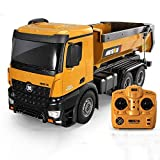 GRTVF 1:8 Large 10 Channel Remote Control Construction Dump Truck 2.4Ghz Oversized Simulation Engineering RC Car Vehicles Heavy Duty Metal Hopper Can Lift Up and Down for Kids Gifts