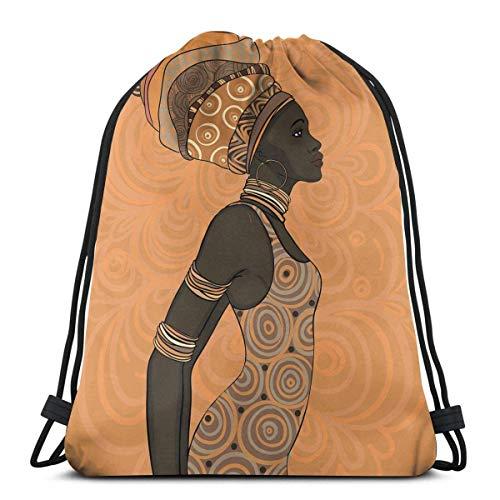 Odelia Palmer Mochilas Estampadas con cordón, Tema de pueblos indígenas de África, Mujer Local con Turbante y Vestido Tradicionales, Cierre de Cuerda Ajustable