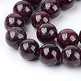 Perlas de piedras preciosas naturales, granate, redondas, 6 mm, joyas de diseño, accesorios para manualidades, cadena de perlas G45