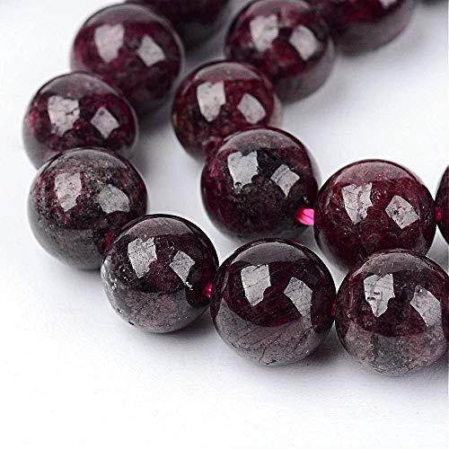 Perlas de piedras preciosas naturales, granate, redondas, 4 mm, para joyas, diseño de joyas, accesorios para manualidades, cadena de perlas G48
