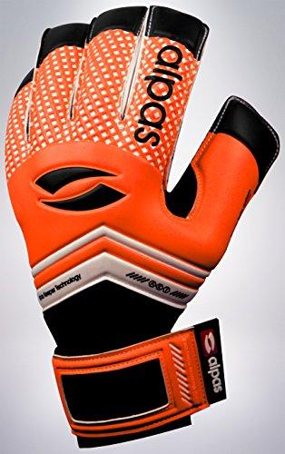 Alpas Torwarthandschuhe (Fingersave) V2 Orange Gr. 8 bis 10 *NEU* AUSLAUFMODELL (mit Bedruckung, 8)
