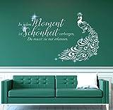 tjapalo® pkm525 Wandtattoo Badezimmer Wohnzimmer Wandspruch Sprüche Zitate Beauty Salon In jedem Moment ist Schönheit verborgen mit Kristallen, Größe: B80xH47cm, Farbe: lichtblau