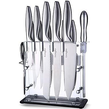 Knife Set 14 Piece Kitchen Knives 8  Chef Knife 8  Bread Knife 8  Slicer Knife 5  Utility Knife 3½  Paring Knife 4½  Steak Knife Scissors Sharpener Acrylic Block