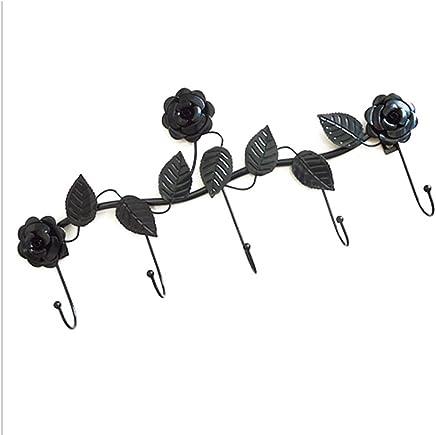 JIANFEI 壁掛けフック ウォールハンガー 衣類帽子 ハンガーホルダー 5フック 三次元の花、 鉄 (色 : ブロンズ)
