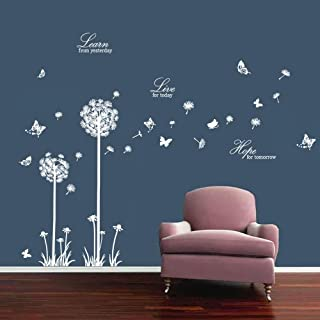 decalmile Dandelion Wall Decals Butterflies Learn Live Hope Wall Stickers Quotes Living Room Bedroom Wall Decor (White)