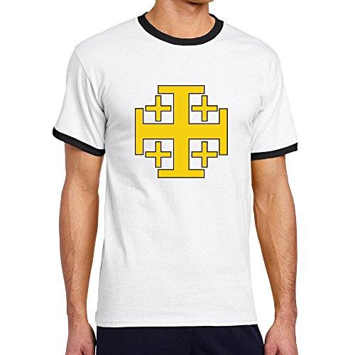 Men's Cool Jerusalem Cross Contrast Ringer Tee XXL Black