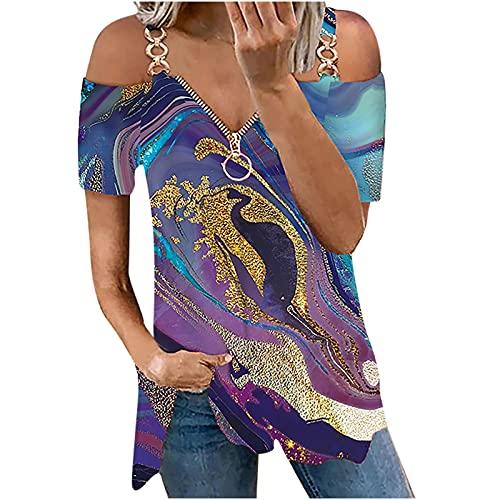 Wirziis Womens Casual Short Sleeve Shirt Fashion V Neck Zipper Strapless Tunic Shirt Loose Fit Print Chain Tops Blouses