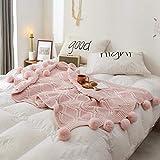ADSE Couverture tricotée, Rose Chunky Chenille Throw Blanket Canapé-lit Tricot avec pomponsDécoration Doux Chaud Confortable pour Bébés Enfants Garçons Filles Adultes et Personnes Âgées (130 × 160cm)