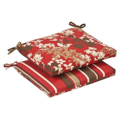 Pillow Perfect Lot de 2 Coussins réversibles pour intérieur/extérieur Rouge/Marron Motif Floral et Rayures