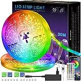 LED-Streifen, 30m Licht, Musiksynchronisation, Farbwechsel, RGB-LED-Streifen, 40-Tasten-Fernbedienung, empfindliches eingebautes Mikrofon, App-gesteuerte LED-Leuchten, 5050 RGB-LED-Lichtstreifen (30M)