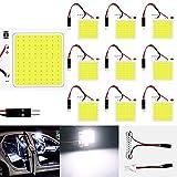 10パックホワイト300ルームCOB 48-SMD 12V DC LEDライト用自動車車内照明パネルドームランプマップルーフ天井ライト電球10×T10、BA9S、花飾りアダプター