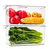 Slideep Refrigerator Food Storage Containers, Produce Saver Stackable Container with Lids & Removable Drain Tray, Freezer Bins Stay Fresh for Kitchen Pantry 2 Pack