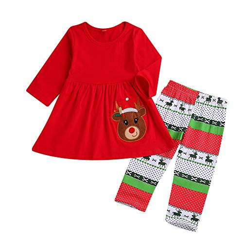 Cuteelf Kinder Langarm Weihnachten Cartoon Deer Top + Print Lange Hosen Zweiteilige Set Set Kleinkind Kind Baby Weihnachten Deer Print Top Hosen Set Cute Comfort Set