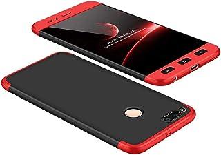 JOYTAG Carcasa ultrafina para Xiaomi Redmi 5 Plus, 360 grados, color rojo y negro mate, protección todo incluido 3 en 1, incluye film de vidrio templado