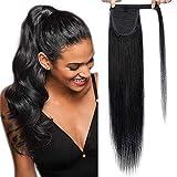 20'(50cm) SEGO Coleta Postiza Pelo Natural Clip [#1 Negro Intenso] Cabello Humano Extensiones de Cola 100% Remy Ponytail Extension Human Hair (95g)