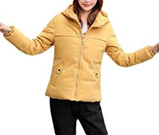 Macondoo Womens Quilted Loose Full-Zipper Winter Short Coat Hoodie Down Jacket