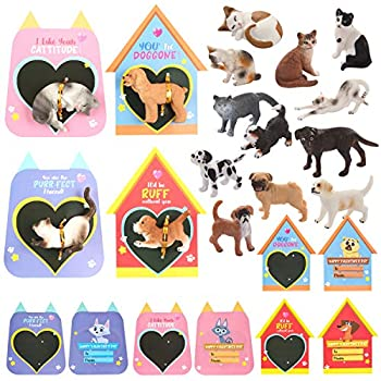 JOYIN 16 Pack Valentines Day Card with Dog and Cat Figure Toys for Valentine Kids Party Favor Classroom Exchange Prizes Valentine's Greeting Cards