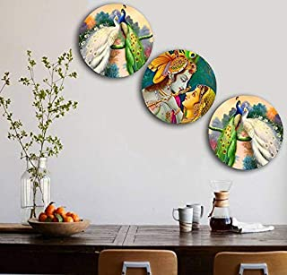 Studio Shubham Wooden Lord Krishna and Peacock Art Wall Plates for Hanging (7.5 Inch, Set of 3)