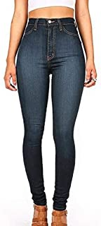 Hokny TD Women's Bodycon Stretch Slim Fit High Waist Denim Jeans Pant Black Large