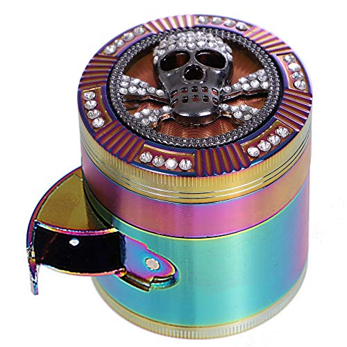 Finzdy Herb Grinder 2.87 Inches 4 Piece Grinder with Pollen Catcher Durable Zinc Alloy Herb Spice Heavy Duty Grinder with scrapper and Easy Access Window (Skull)
