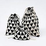 SDCVRE Bolsa de la Compra,Fashion Fresh Women Shopping Bag with Drawstring Cotton Travel Underwear Shoe Storage Organizer Bag Pouch,Black Triangle,L