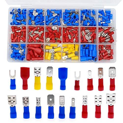 CROSYO 330 stücke Sortierte voller isolierter Gabel U-Typ Set Terminals Steckverbinder Sortiment Kit Elektrische Crimp Spade Ring
