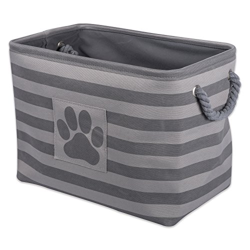 Bone Dry Stripes with Paw Patch Collapsible Polyester Pet Storage Bin, Rectangle Large-17.5 x 12 x 15, Gray
