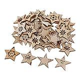 FLAMEER 50 Stück Holz Sternformen Schneeflocke Holzscheiben Tischdekoration Holz Deko Basteln Weihnachtsdeko - natürlich, 30 mm - 5