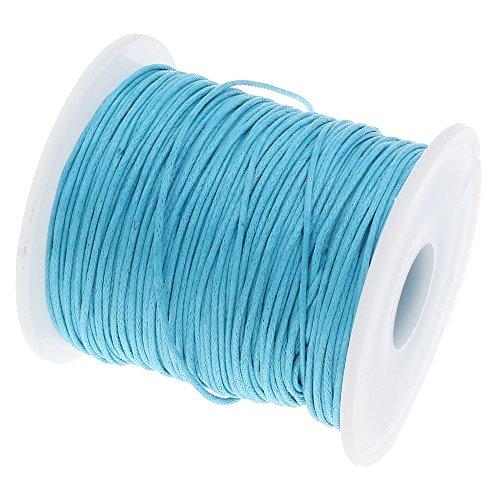 Perlin C283, cordoncino di cotone cerato, 1 mm, lunghezza di 75 m, colore azzurro, per la creazione di gioielli, per filo di perle