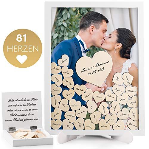 Fairytale Wedding © Gästebuch Hochzeit Holz inkl. 81 Herzen - Herz Hochzeitsgästebuch mit Echtglas - Bilderrahmen zum Befüllen mit Holzherzen - Hochwertiger Hochzeit Holzrahmen zum Beschriften