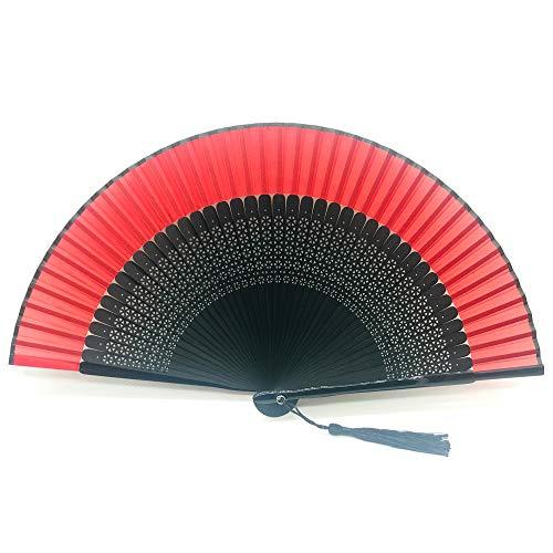 1SourceTek Silk Hand Held Folding Fans 14 pulgadas (38cm) Mujeres Hand Held Folding Fans con caja de regalos - Estilo chino retro (Rojo)