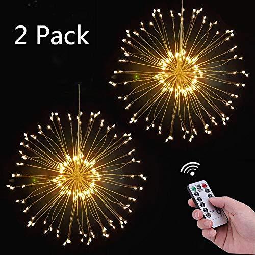 Feuerwerk LED Licht, Lukasa 2 Stück 120 LEDs Lichterkette mit 8 Modi Beleuchtungs effekt wasserdicht Kupferdraht Lichter für Garten Terrasse Hochzeit Party Weihnachten
